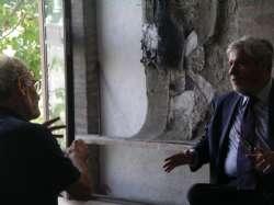 Bruno nel suo studio di Monteveglio con Pier Damiano Ori, 2012