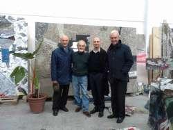 F. Calda, B. Pinto, G. Maraniello, L. Sassoli nello studio di Casalecchio, 2015